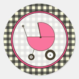 黒いギンガムおよびピンクの乳母車のステッカー ラウンドシール