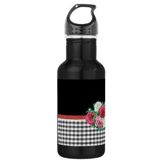 黒いギンガムおよび花 ウォーターボトル