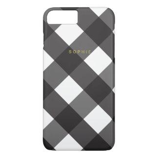 黒いギンガムのiPhone 7のプラスの場合 iPhone 8 Plus/7 Plusケース