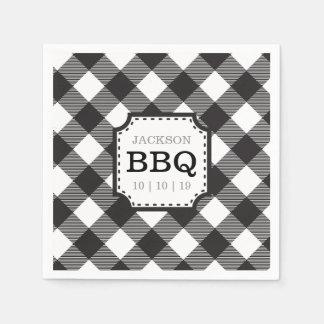 黒いギンガムチェック模様のパターン紙ナプキン スタンダードカクテルナプキン