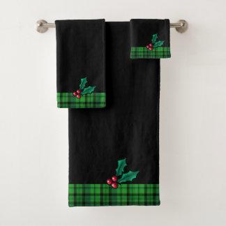 黒いクリスマスの格子縞およびヒイラギタオルセット バスタオルセット