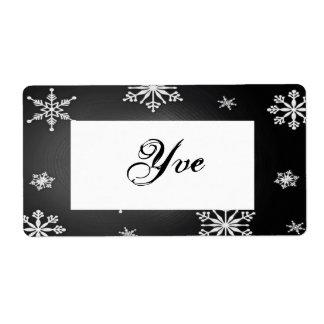 黒いクリスマスの雪片および灰色のテンプレートI 発送ラベル