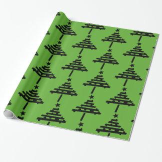 黒いクリスマスツリーパターン緑 ラッピングペーパー