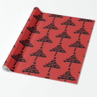 黒いクリスマスツリーパターン赤 ラッピングペーパー