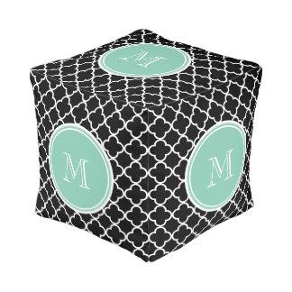 黒いクローバーパターン、真新しい緑のモノグラム プーフ