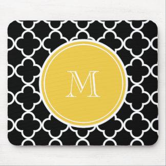 黒いクローバーパターン、黄色いモノグラム マウスパッド
