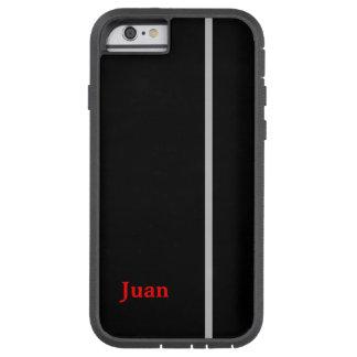 黒いグラフィックの灰色のストライプのあなたの名前 TOUGH XTREME iPhone 6 ケース