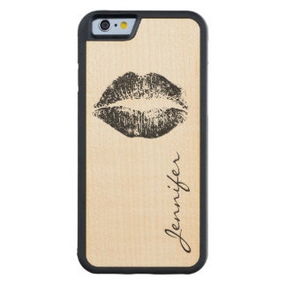 黒いグリッターの唇 CarvedメープルiPhone 6バンパーケース