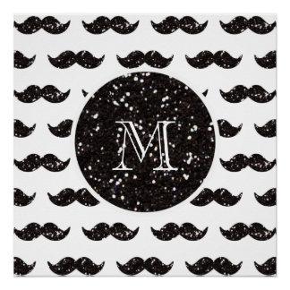 黒いグリッターの髭パターンあなたのモノグラム ポスター