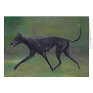 黒いグレイハウンドの小走りに走る犬の芸術のメッセージカード カード