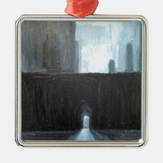 黒いゲート(抽象的な都市景観の絵画) メタルオーナメント
