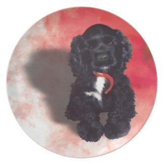 黒いコッカースパニエルの子犬- Abby プレート