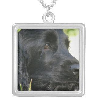 黒いコッカースパニエル犬のネックレス シルバープレートネックレス