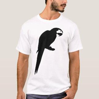 黒いコンゴウインコのオウムの鳥のシルエット Tシャツ