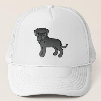 黒いコートのNeapolitanマスティフ犬 キャップ