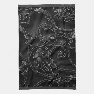 黒いゴシック様式バロック式の渦巻パターン キッチンタオル