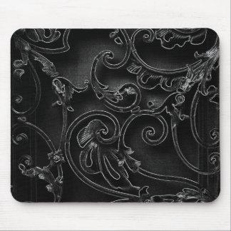 黒いゴシック様式バロック式の渦巻パターン マウスパッド
