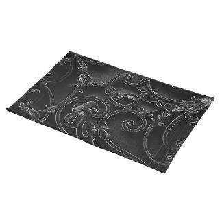 黒いゴシック様式バロック式の渦巻パターン ランチョンマット
