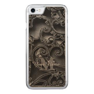 黒いゴシック様式パターンモノグラム CARVED iPhone 8/7 ケース