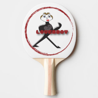 黒いゴム背部LOVERBOY円のロゴ ピンポンラケット