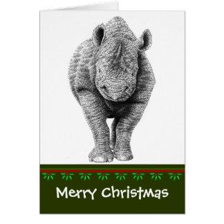 黒いサイのクリスマスカード カード