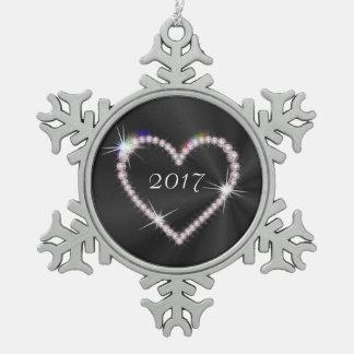 黒いサテンのダイヤモンドのハート スノーフレークピューターオーナメント