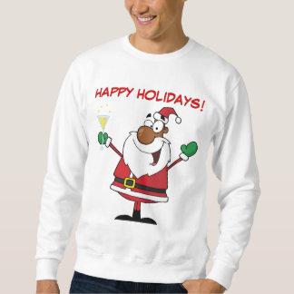 黒いサンタからの幸せな休日のトースト スウェットシャツ
