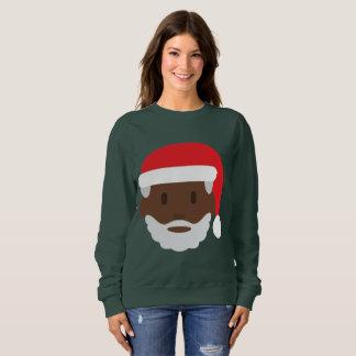 黒いサンタクロースのemojiのクリスマスの女性のスエットシャツ スウェットシャツ