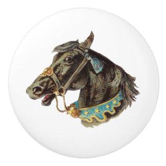 黒いサーカスの馬のヴィンテージの芸術 セラミックノブ