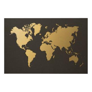 黒いシェブロンの金ゴールドの世界地図 ウッドウォールアート