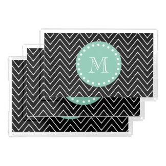 黒いシェブロンパターン|真新しい緑のモノグラム アクリルトレー