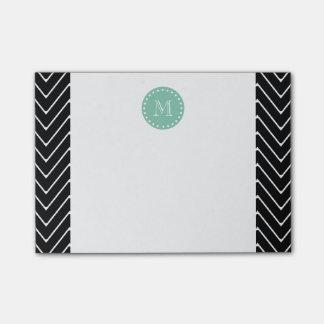 黒いシェブロンパターン|真新しい緑のモノグラム ポストイット