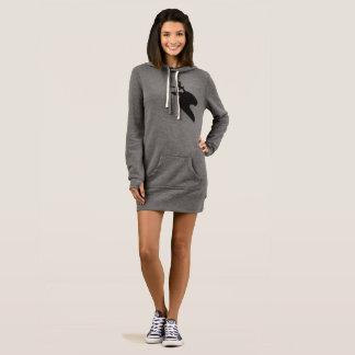 黒いシカの灰色の女性のフード付きスウェットシャツの服 ドレス