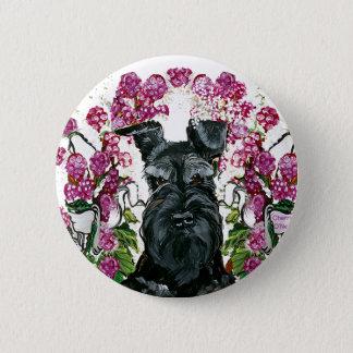 黒いシュナウツァーの花束 缶バッジ