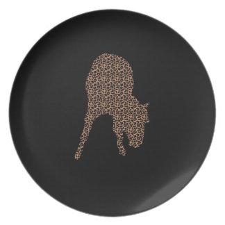 黒いシルエットのプレートの馬のヒョウ プレート