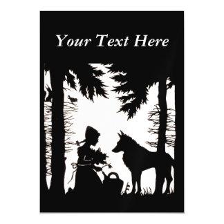 黒いシルエットの赤い乗馬フードのオオカミの森 マグネットカード