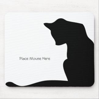 黒いシルエット猫-マウスをここに置いて下さい マウスパッド