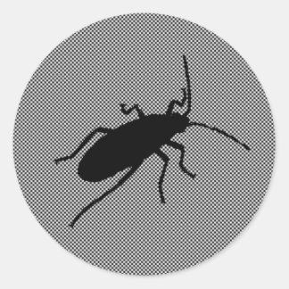 黒いジグザグ形の虫 ラウンドシール