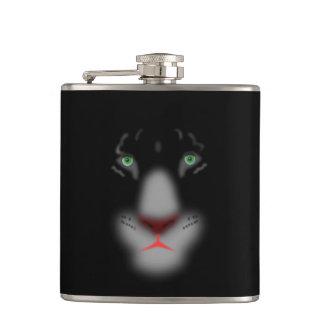 黒いジャガーまたはヒョウの大きな猫の顔 フラスク