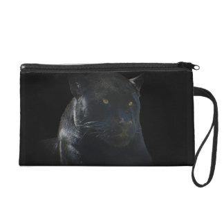 黒いジャガー野生猫の動物愛好家の手首の財布 リストレット