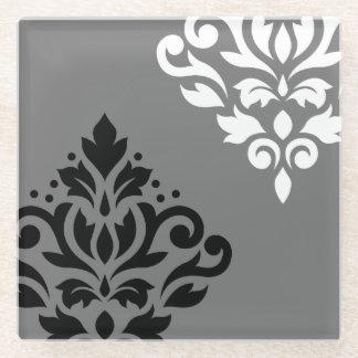 黒いスクロールダマスク織の芸術I及び灰色の白 ガラスコースター