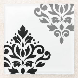 黒いスクロールダマスク織の芸術I及び白の灰色 ガラスコースター