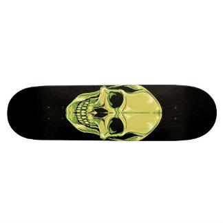 黒いスケートボードの緑の笑ったスカル オリジナルスケートボード