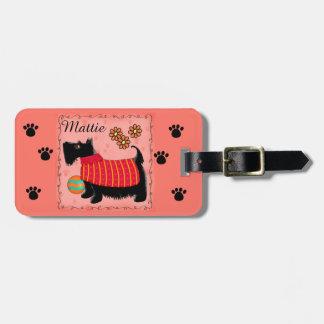 黒いスコッチテリアテリア犬の名前の名前入りなオレンジ ラゲッジタグ