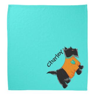 黒いスコッチテリアテリア犬の名前の名前入りなティール(緑がかった色) バンダナ