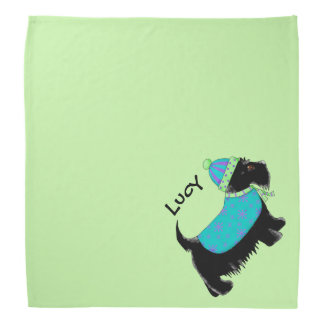 黒いスコッチテリアテリア犬の名前の名前入りな緑 バンダナ