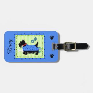 黒いスコッチテリアテリア犬の名前の名前入りな青 ラゲッジタグ