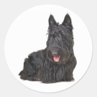 黒いスコットランドテリアの小犬のステッカー/シール ラウンドシール