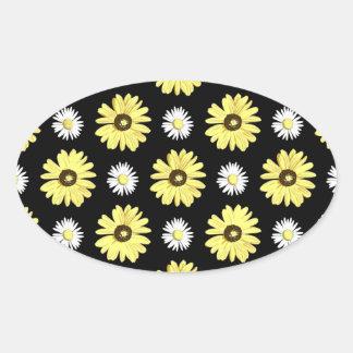 黒いステッカーのデイジーの白い黄色 楕円形シール