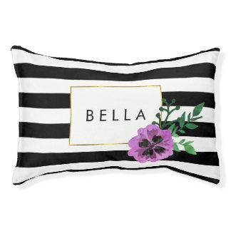 黒いストライプ及び紫色のパンジー名前入りな犬のベッド スモールドッグベッド